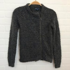 NWT GAP Kids Sz 10 L Moto Sweater Jacket Gray Wool